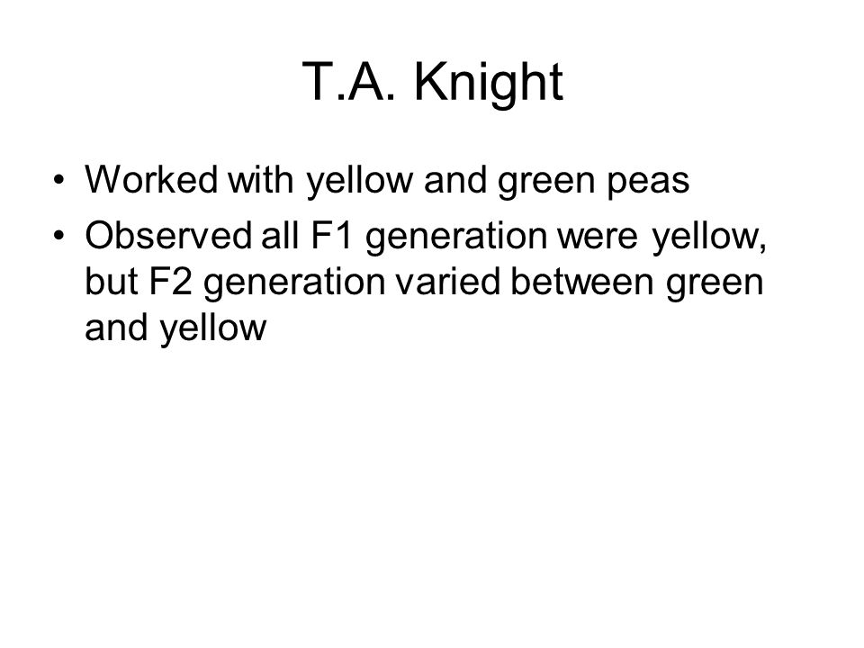 T.A. Knight Worked with yellow and green peas