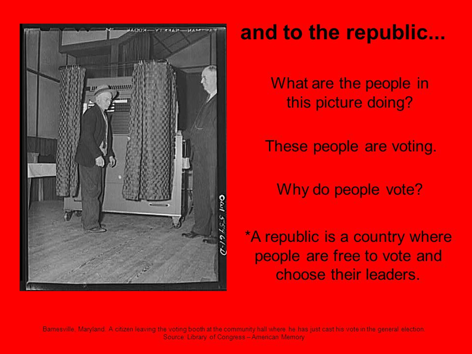 and to the republic... What are the people in this picture doing