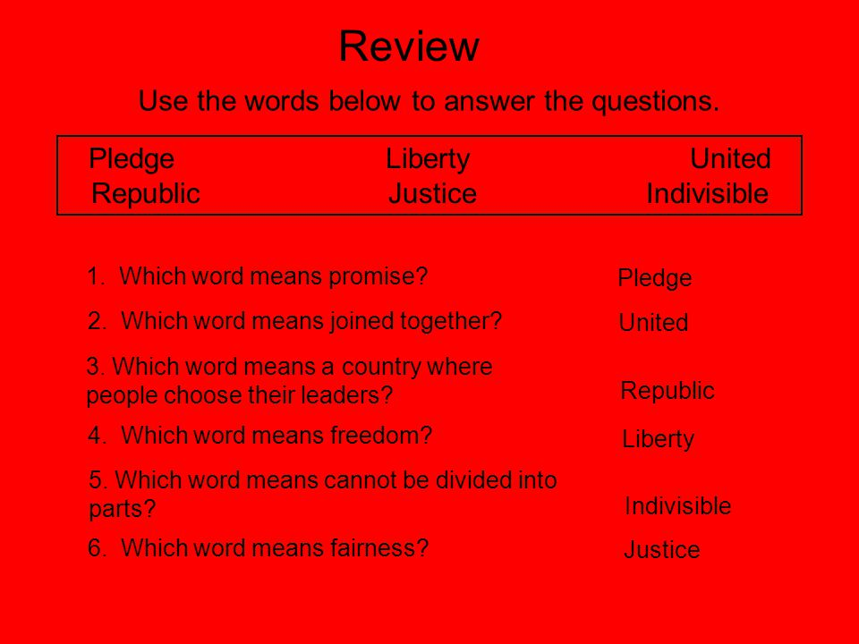 Review Use the words below to answer the questions.