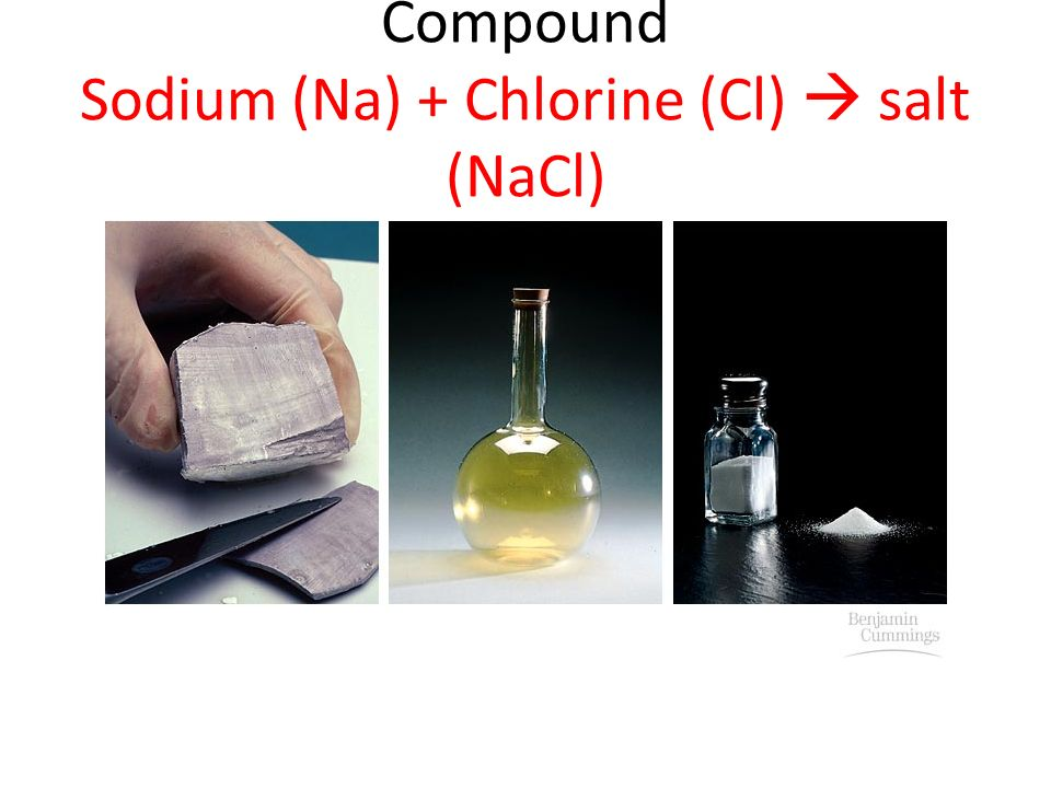 Compound Sodium (Na) + Chlorine (Cl)  salt (NaCl)