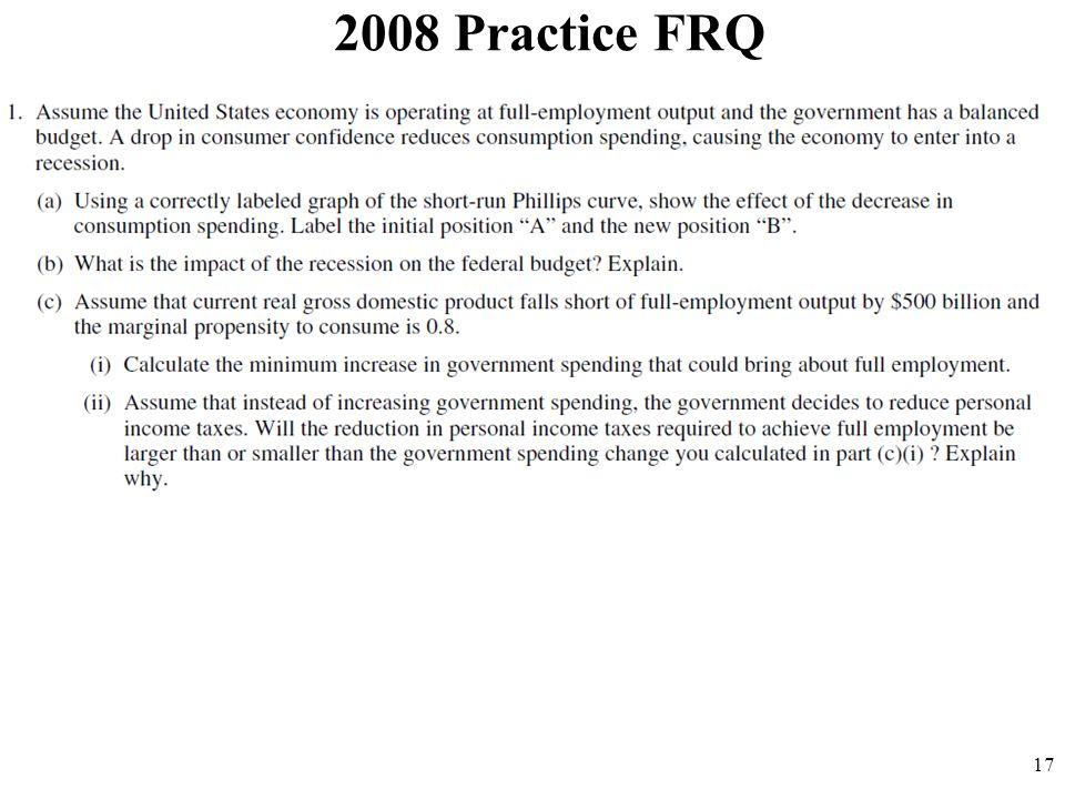 2008 Practice FRQ 17