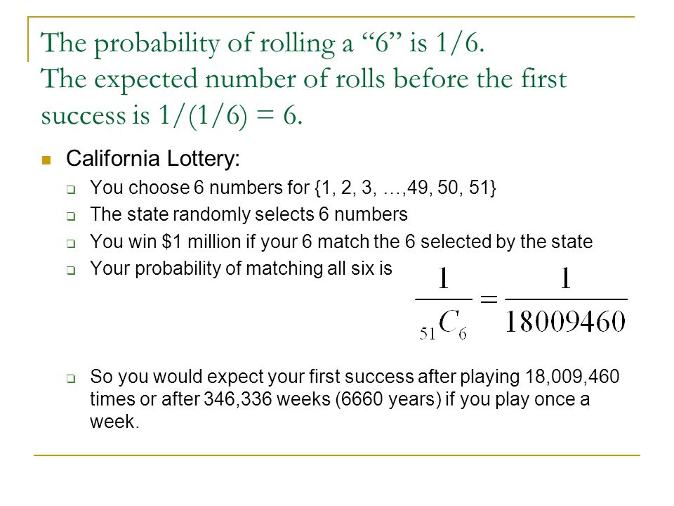 The probability of rolling a 6 is 1/6