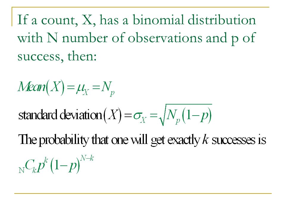 If a count, X, has a binomial distribution with N number of observations and p of success, then: