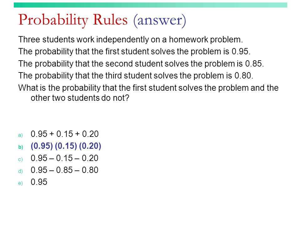 Probability Rules (answer)