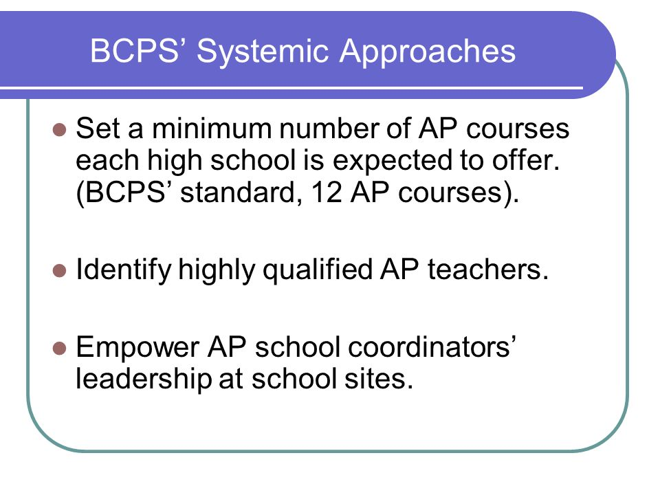 BCPS' Systemic Approaches