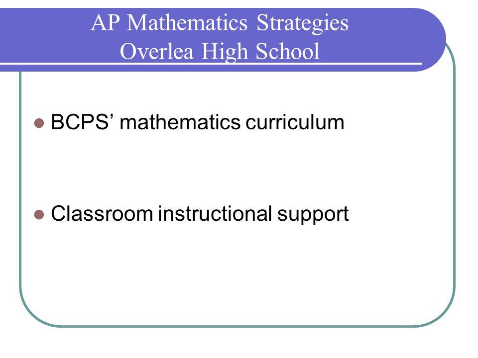 AP Mathematics Strategies Overlea High School