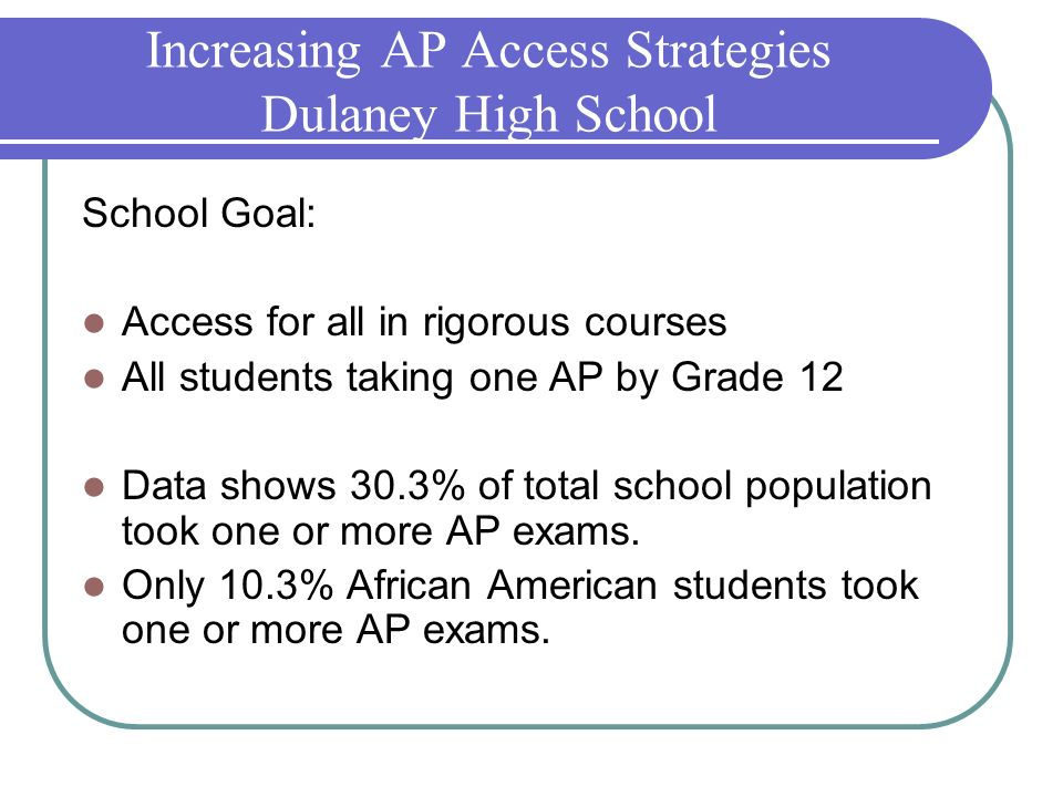 Increasing AP Access Strategies Dulaney High School
