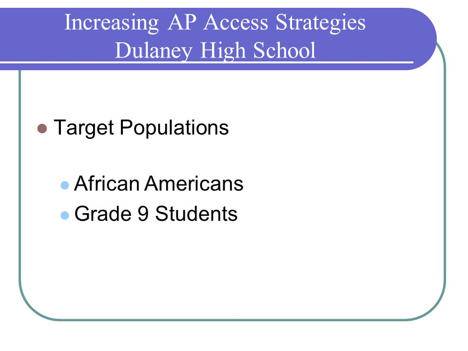 Increasing AP Access Strategies Dulaney High School