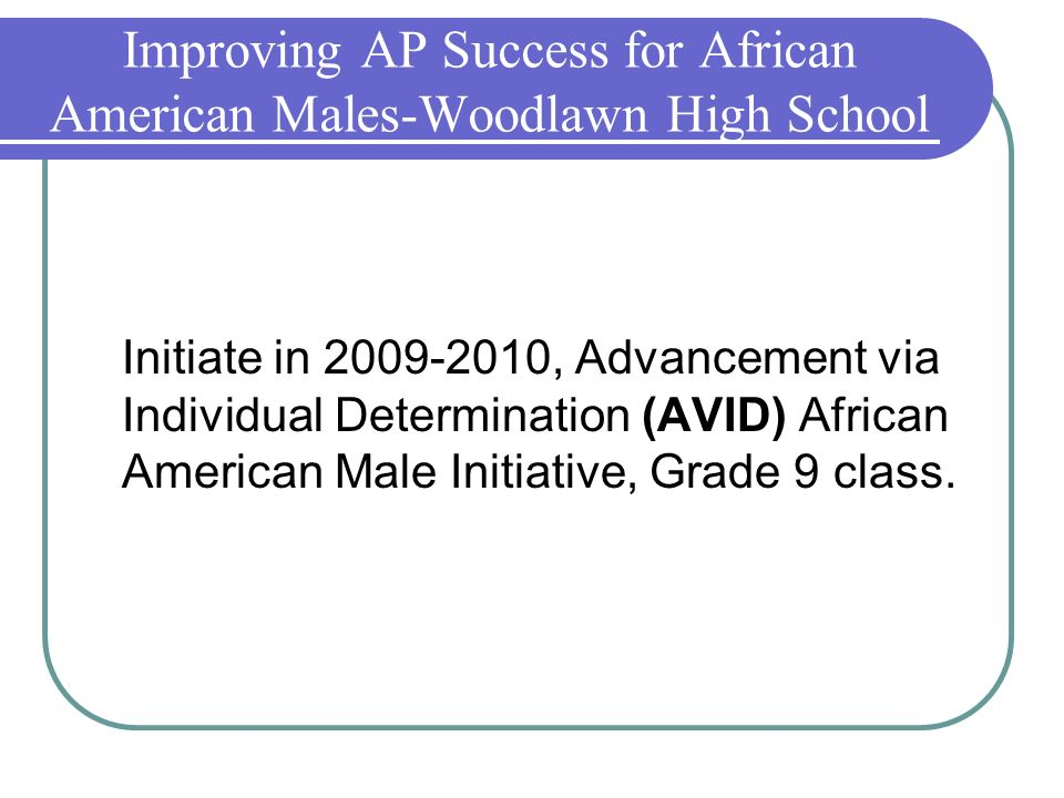 Improving AP Success for African American Males-Woodlawn High School