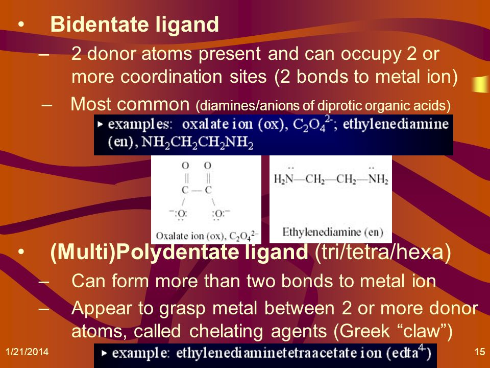 (Multi)Polydentate ligand (tri/tetra/hexa)