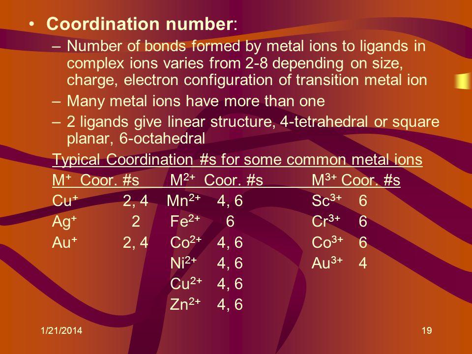 Coordination number:
