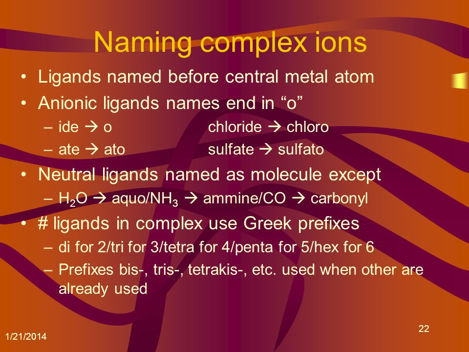 Naming complex ions Ligands named before central metal atom