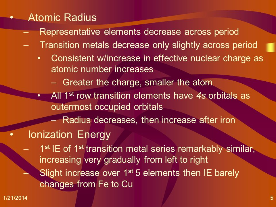 Atomic Radius Ionization Energy