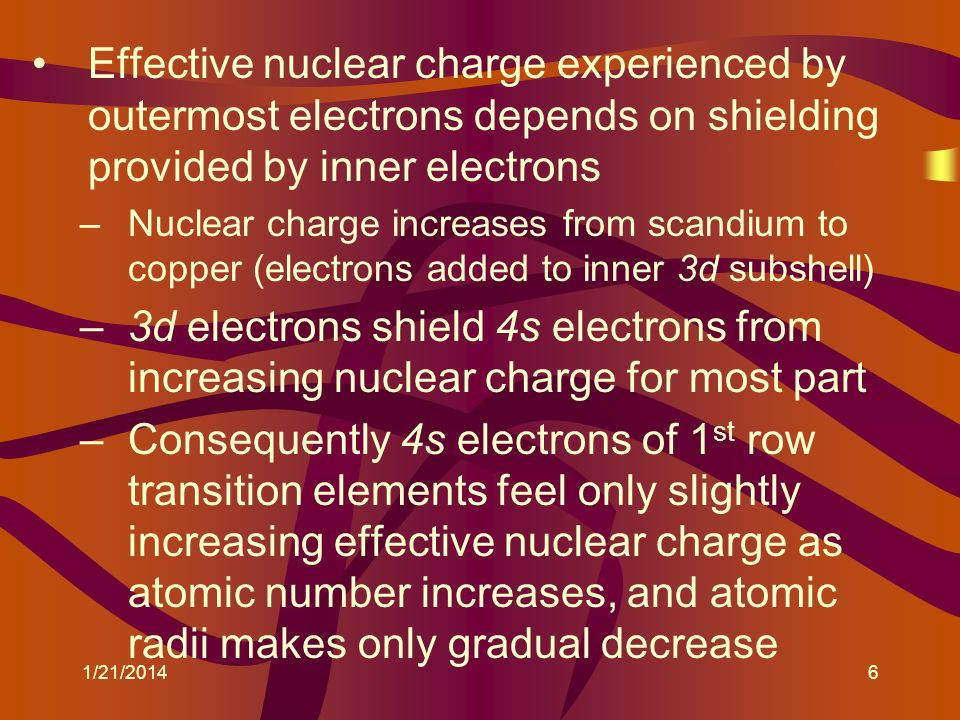 Effective nuclear charge experienced by outermost electrons depends on shielding provided by inner electrons