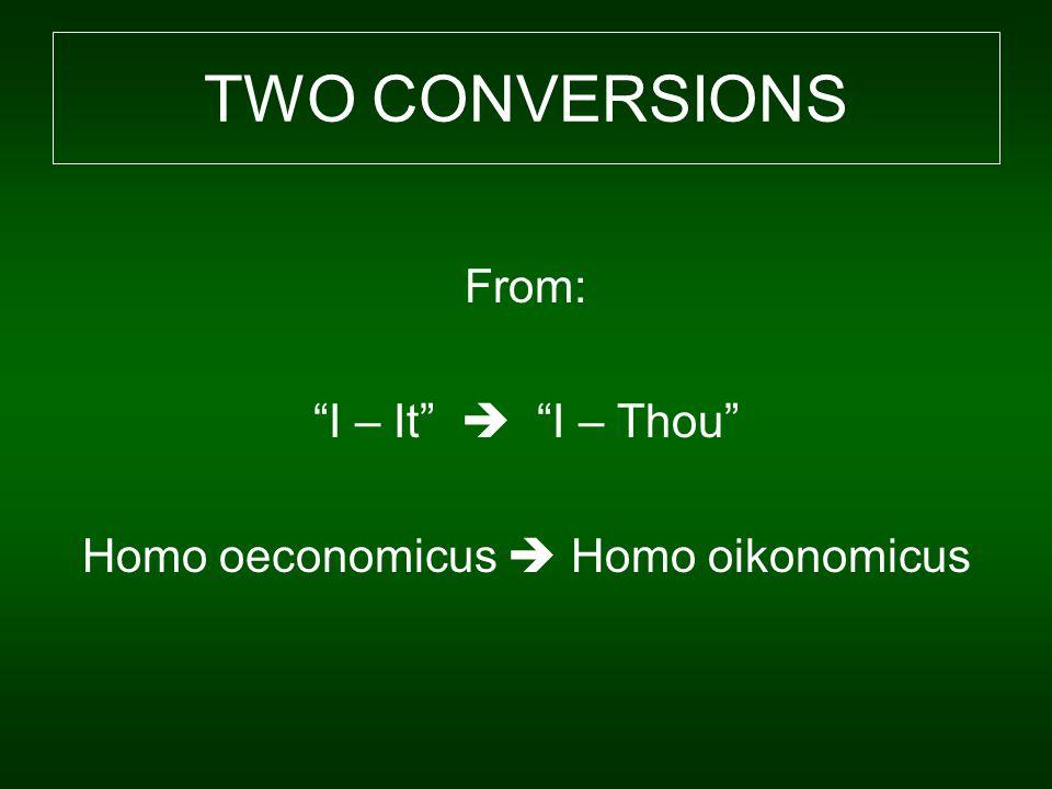 From: I – It  I – Thou Homo oeconomicus  Homo oikonomicus