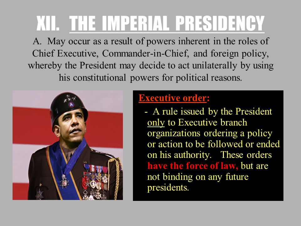 XII. THE IMPERIAL PRESIDENCY A