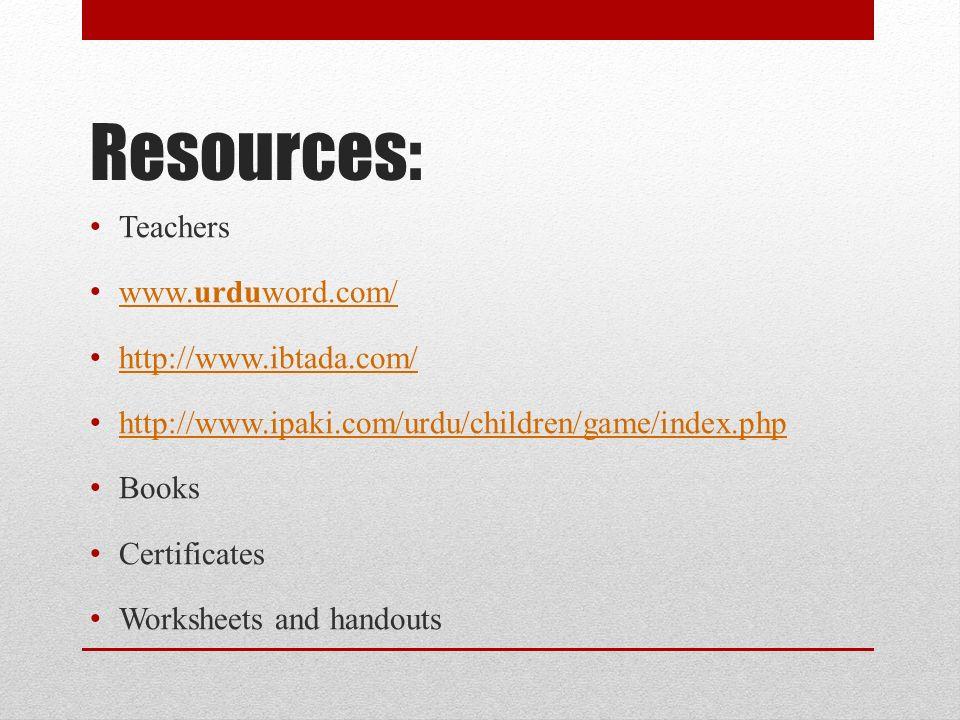 Resources: Teachers www.urduword.com/ http://www.ibtada.com/