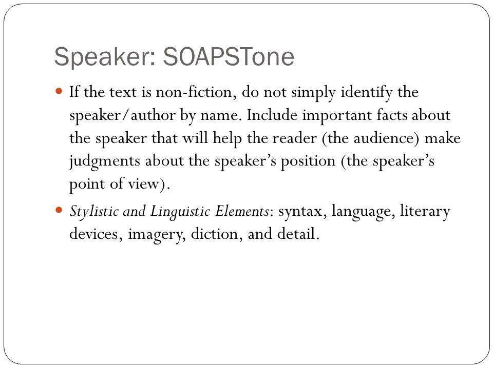 Speaker: SOAPSTone