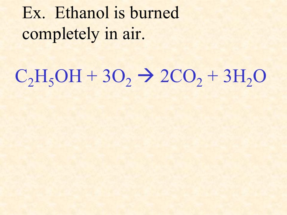 Ex. Ethanol is burned completely in air.