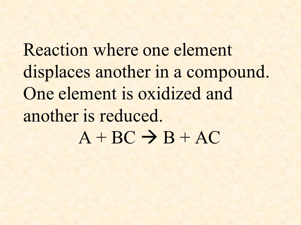 Reaction where one element displaces another in a compound