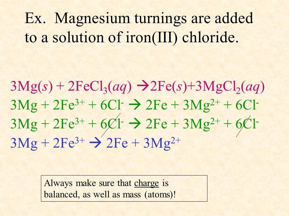 Ex. Magnesium turnings are added to a solution of iron(III) chloride.