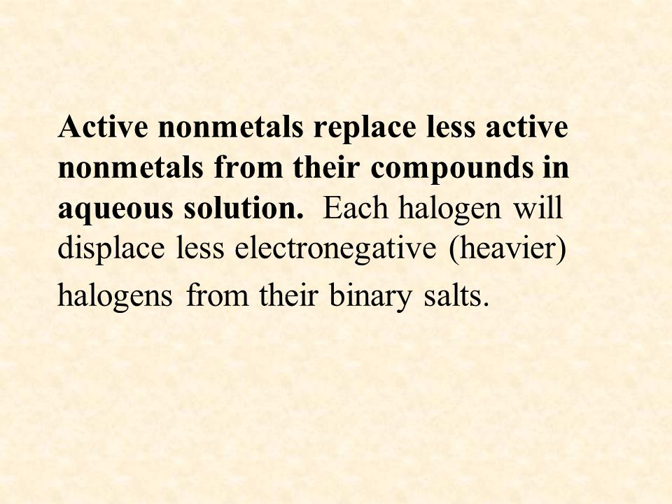 Active nonmetals replace less active nonmetals from their compounds in aqueous solution.