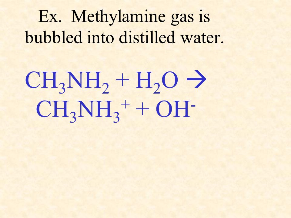 Ex. Methylamine gas is bubbled into distilled water.