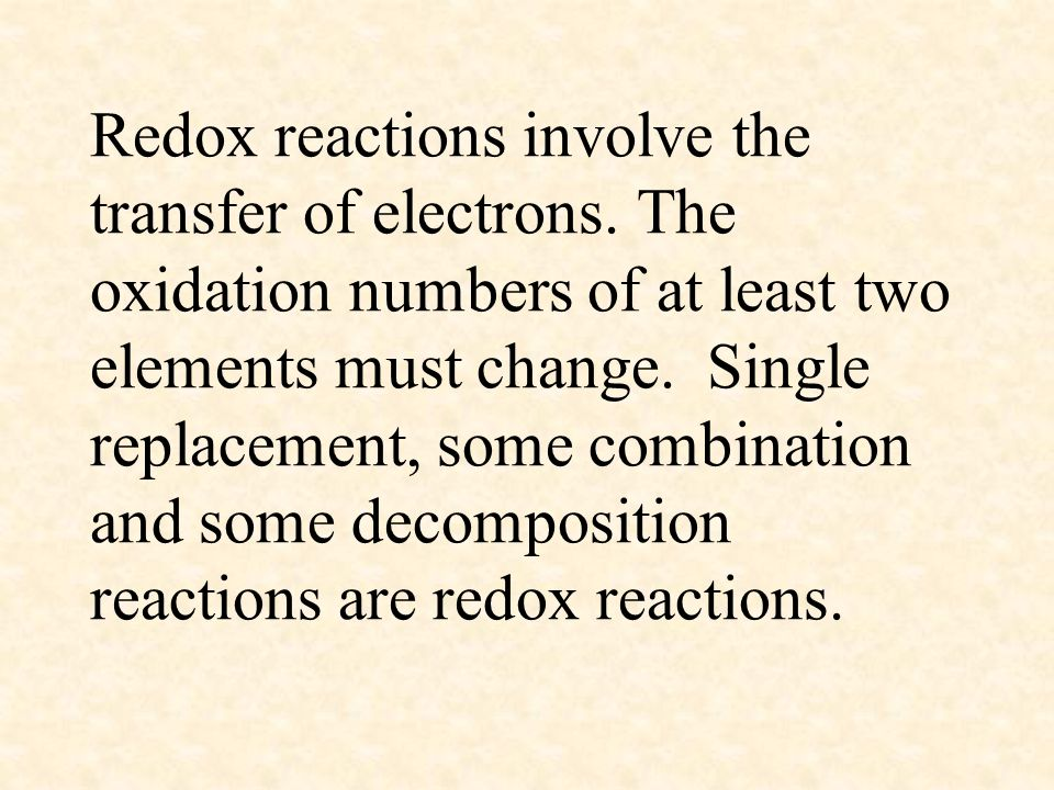 Redox reactions involve the transfer of electrons