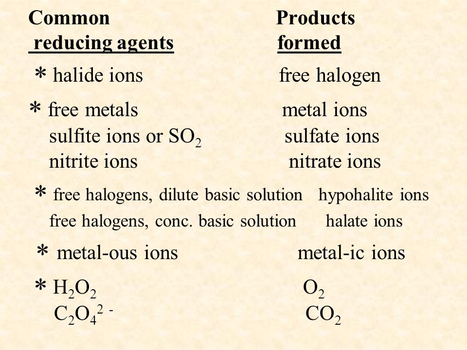 Common Products reducing agents formed  halide ions free halogen  free metals metal ions sulfite ions or SO2 sulfate ions nitrite ions nitrate ions  free halogens, dilute basic solution hypohalite ions free halogens, conc.