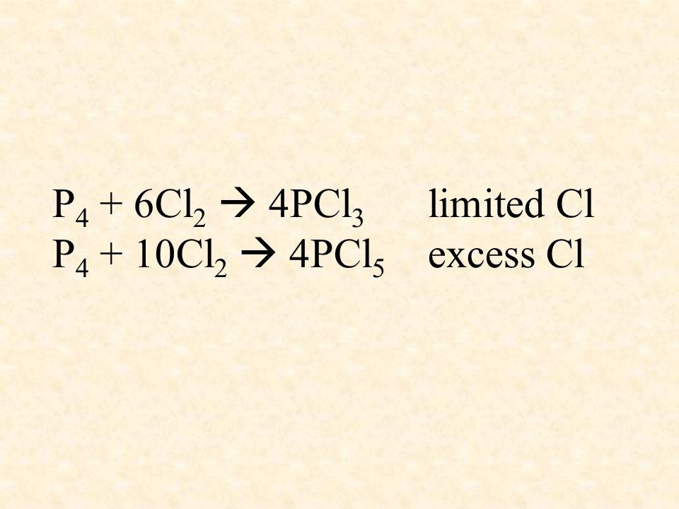 P4 + 6Cl2  4PCl3 limited Cl P4 + 10Cl2  4PCl5 excess Cl