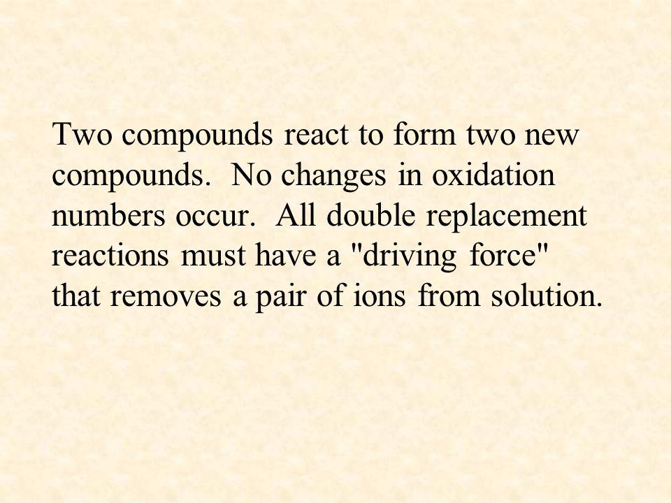 Two compounds react to form two new compounds