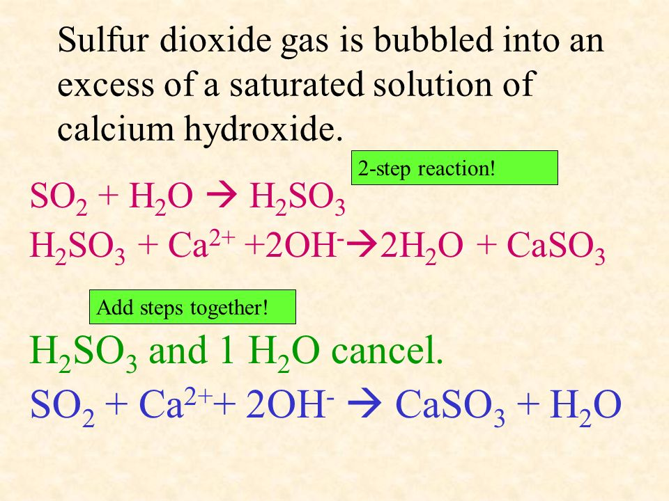 H2SO3 and 1 H2O cancel. SO2 + Ca2++ 2OH-  CaSO3 + H2O