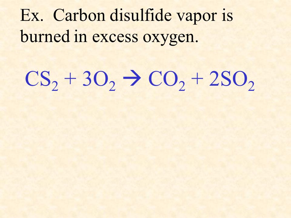 Ex. Carbon disulfide vapor is burned in excess oxygen.