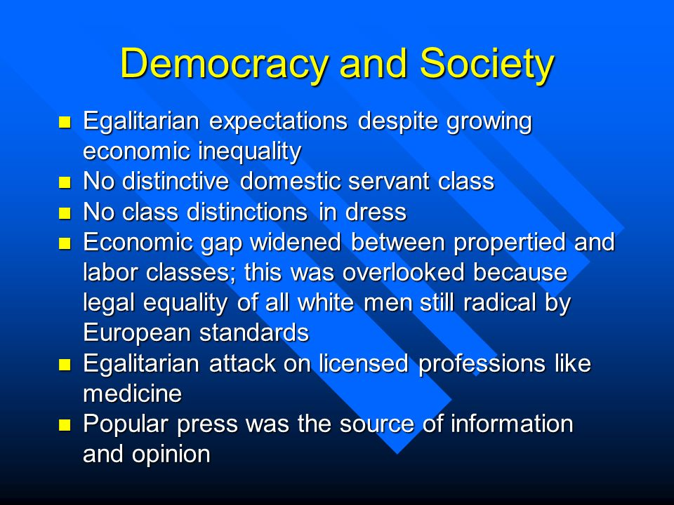 Democracy and Society Egalitarian expectations despite growing economic inequality. No distinctive domestic servant class.