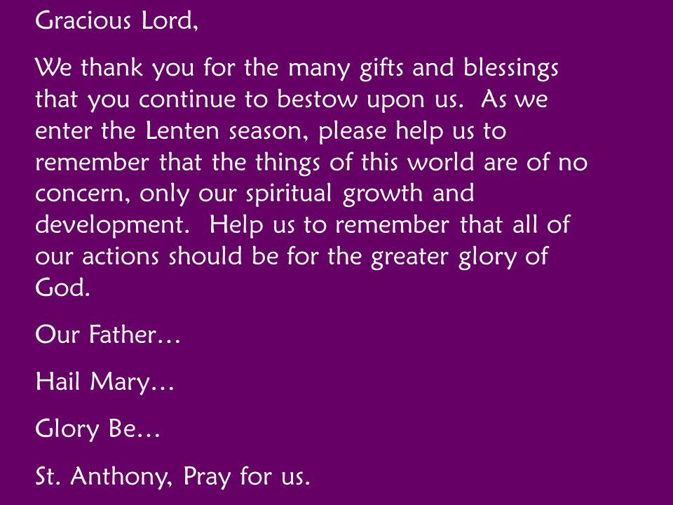 Gracious Lord,