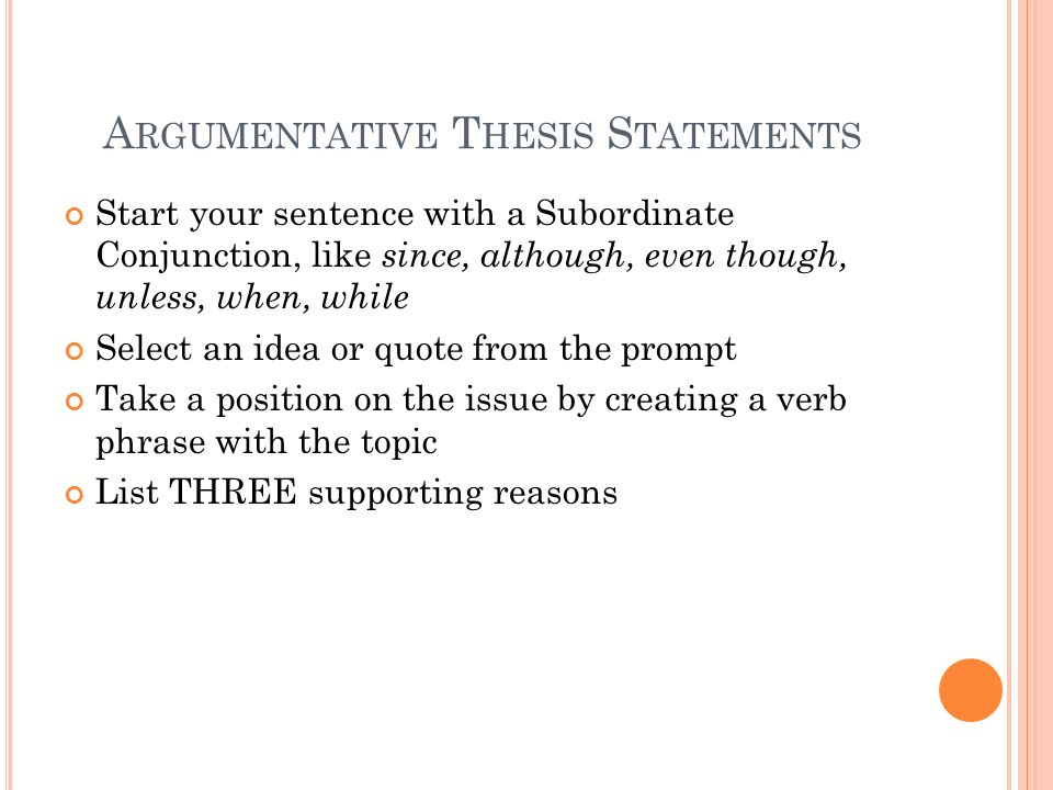 argumentative thesis statement examples Thesis statements in literary analysis papers the thesis statement is one of the an argumentative paper makes a.