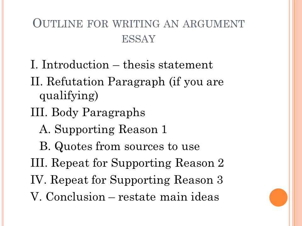 Outline for writing an argument essay