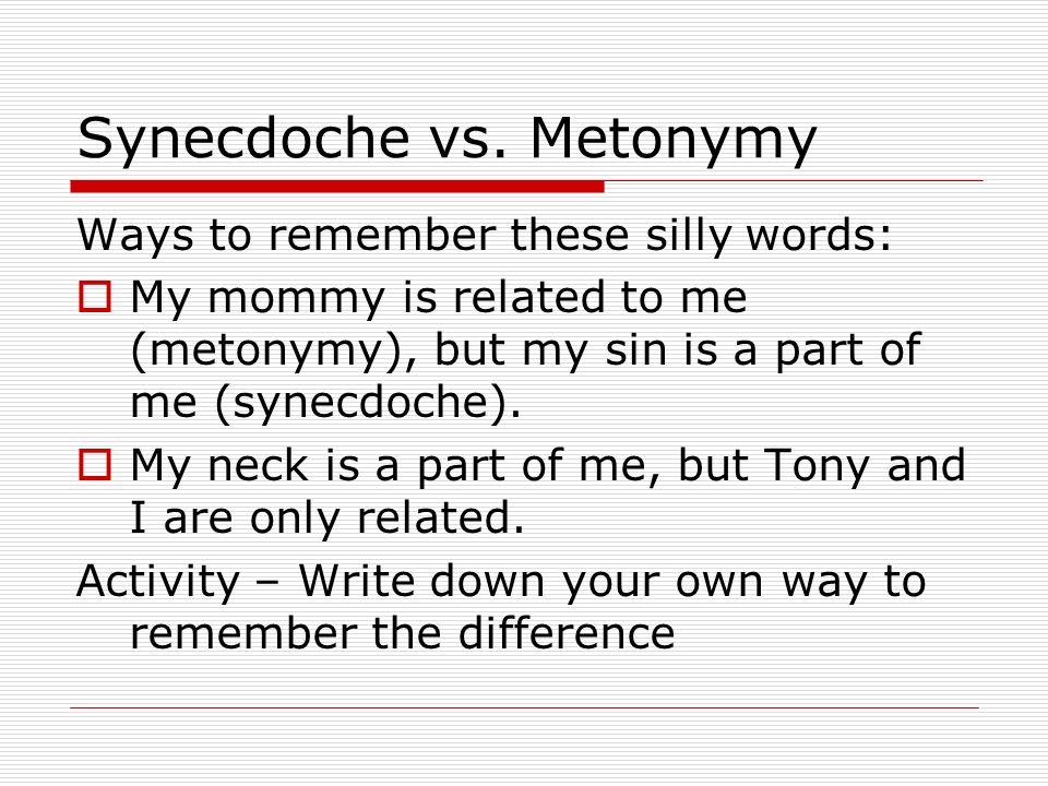 Synecdoche vs. Metonymy