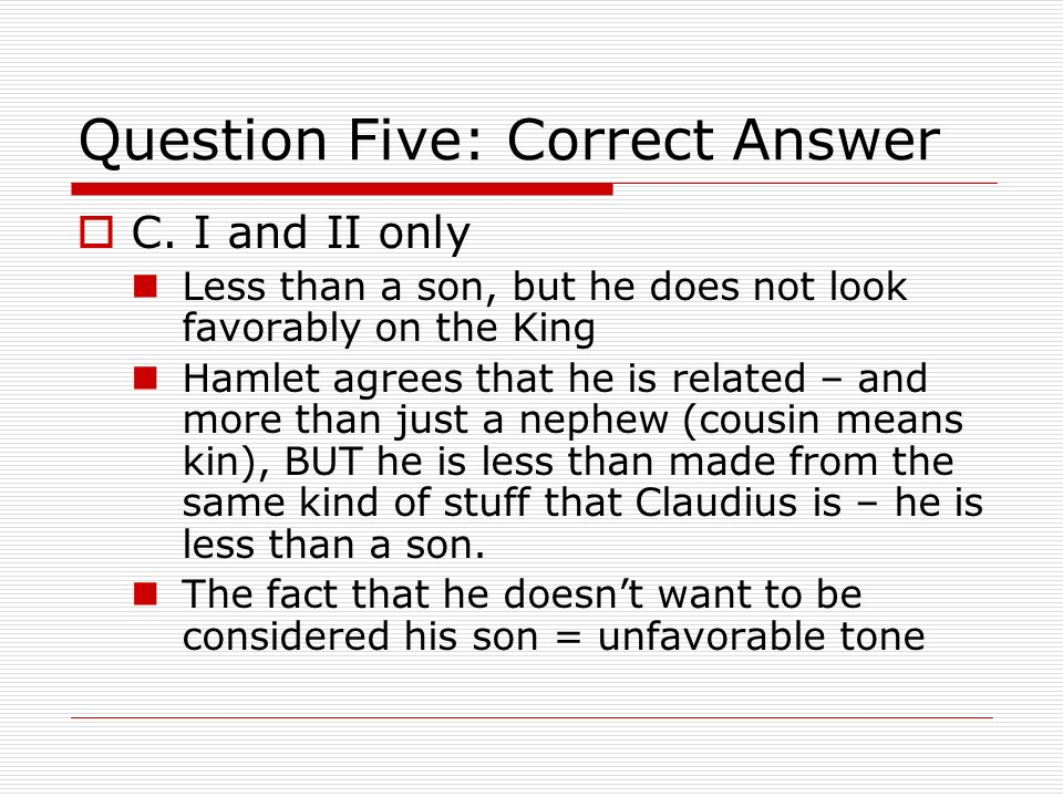 Question Five: Correct Answer