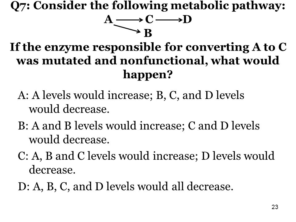 Q7: Consider the following metabolic pathway: A C D B If the enzyme responsible for converting A to C was mutated and nonfunctional, what would happen