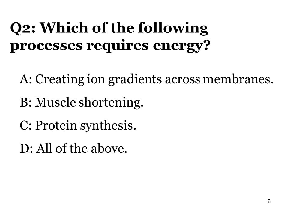Q2: Which of the following processes requires energy