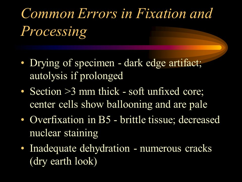 Common Errors in Fixation and Processing
