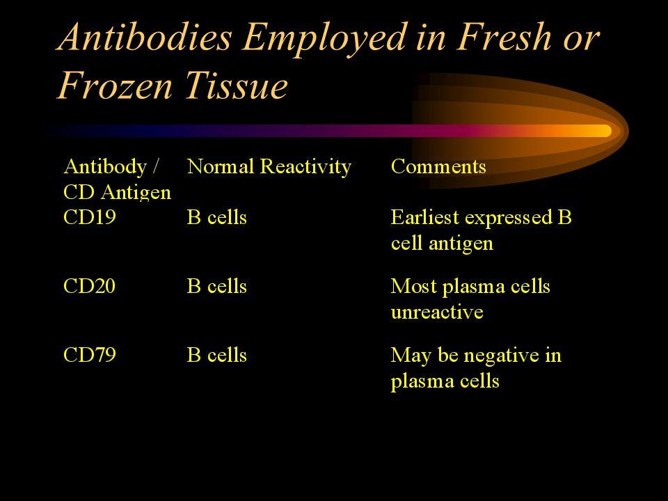 Antibodies Employed in Fresh or Frozen Tissue