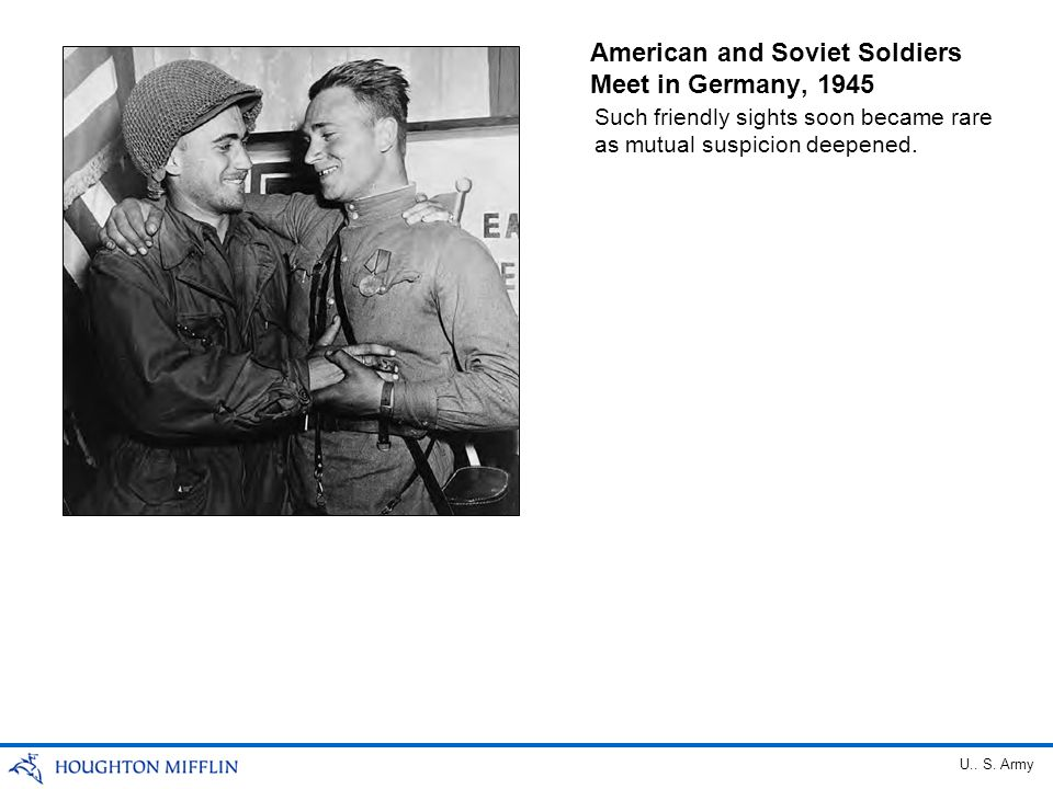American and Soviet Soldiers Meet in Germany, 1945