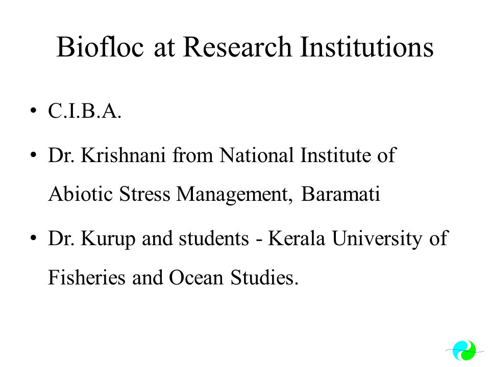 Biofloc at Research Institutions