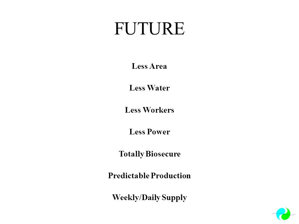 FUTURE Less Area Less Water Less Workers Less Power Totally Biosecure Predictable Production Weekly/Daily Supply
