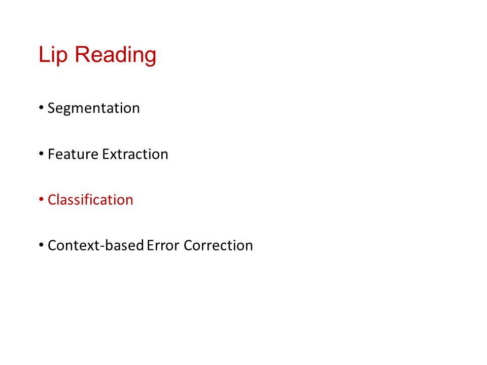 Lip Reading Segmentation Feature Extraction Classification