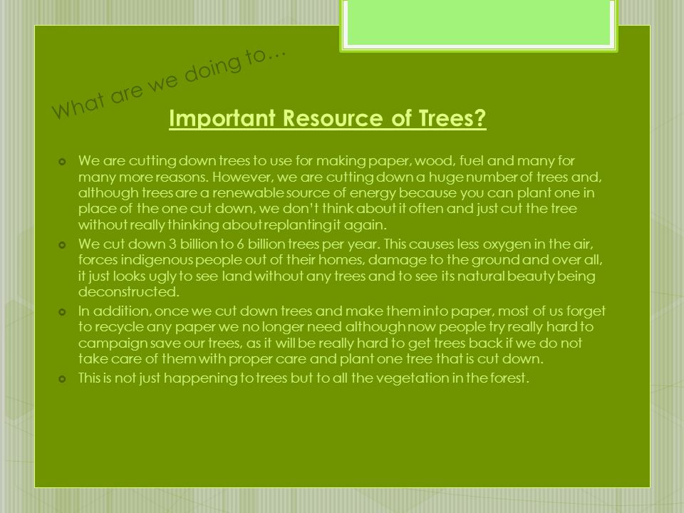Important Resource of Trees