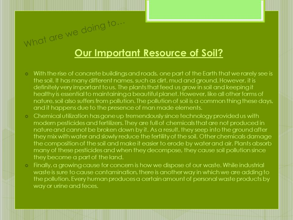 Our Important Resource of Soil