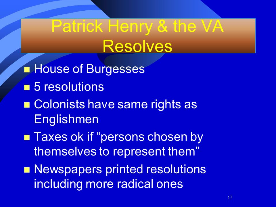 Patrick Henry & the VA Resolves